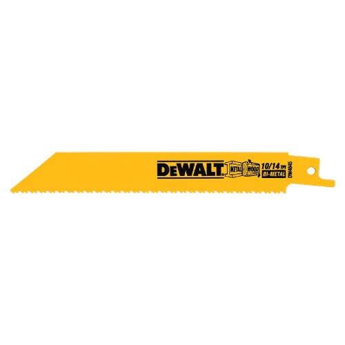 Straight Back Reciprocating Blade - DEWALT DW4845 6-Inch 10/14 TPI Straight Back Bi-Metal Reciprocating Saw Blade (5-Pack)