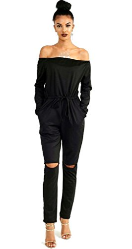 Longwu Women's Fashion off-Shoulder Drawstring Jumpsuits Rompers Knee Hole Pants Black-M