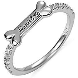 Getname Necklace Personalized Bone Shaped Name Ring Sterling Silver 925 Pet Ring with Paw Print Pet Dog Lover Gifts for Women Men