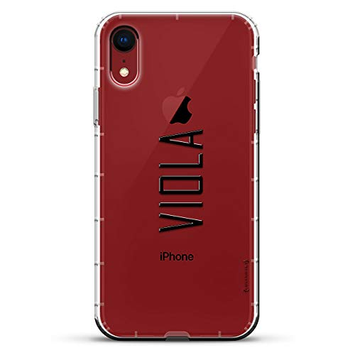 NAME: VIOLA, MODERN FONT STYLE   Luxendary Air Series Clear Silicone Case with 3D printed design and Air-Pocket Cushion Bumper for iPhone XR (new 2018/2019 model with 6.1