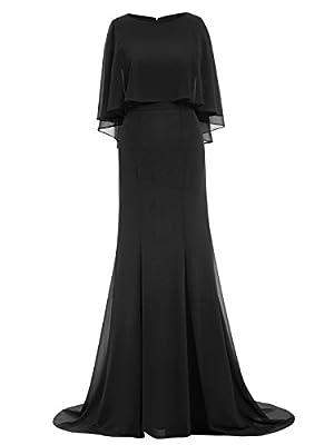 Sisjuly Women's Chiffon Long Sleeves Prom Mermaid Evening Dress