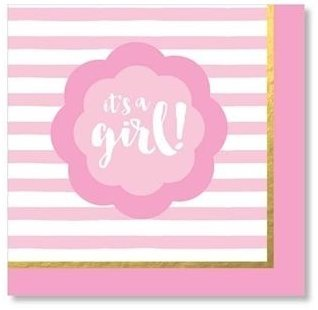 Pink and Gold Baby Shower Supplies Lunch NapkinsIts a Girl Gender Reveal Party Foil Stamped 40 Count Pack
