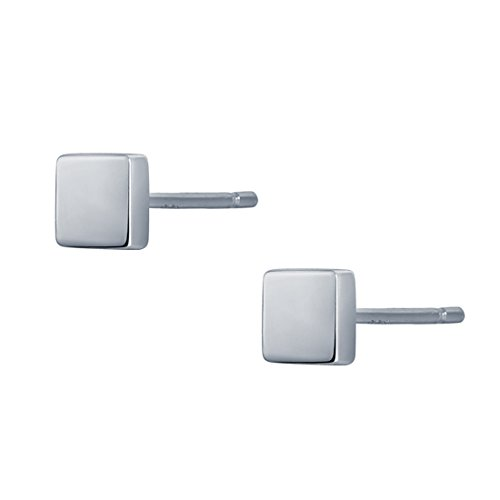 S.Leaf Minimalism Dainty Stud Earrings Sterling Silver Mini Ball,Square Stud Earrings Everyday Wear ()