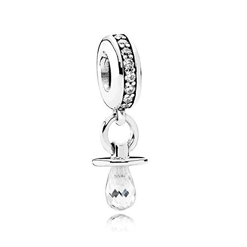 Romántico Amor Baby Pacifier Dangle Charm 925 Sterling Silver Clear CZ Bead for Pandora Bracelet&Necklace (baby pacifer)