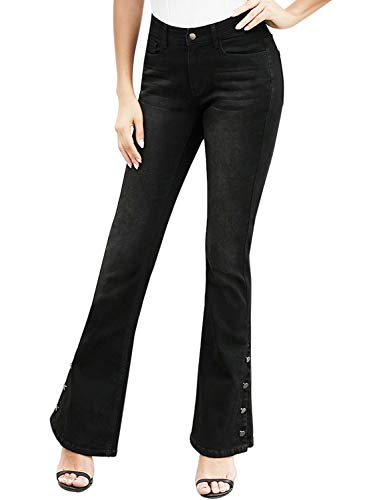 Aleumdr Women's Fashion Mid Rise Denim Pants Slim Fit Flare Jean Anchor Point Bell Bottom Jeans Size S Black