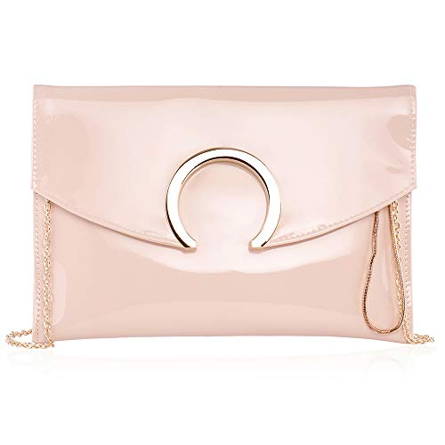 Womens Evening Bags Large Envelope Clutches Purse Metallic Patent Leather Wristlet Handbag (Nude Beige) ()