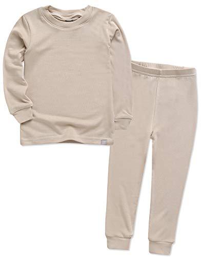 VAENAIT BABY Kids Long Sleeve Modal Sleepwear Pajamas 2pcs Set Modal Beige XS