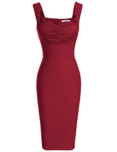 MUXXN Women's Sexy Strap Backless Stretchy Vintage Formal Bodycon Dress (Burgundy XL)