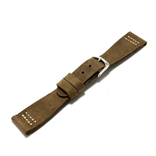 Bracelet Steel Cuff Sand Stainless (Vintage style one layer watch strap 22 mm contrast stitching)