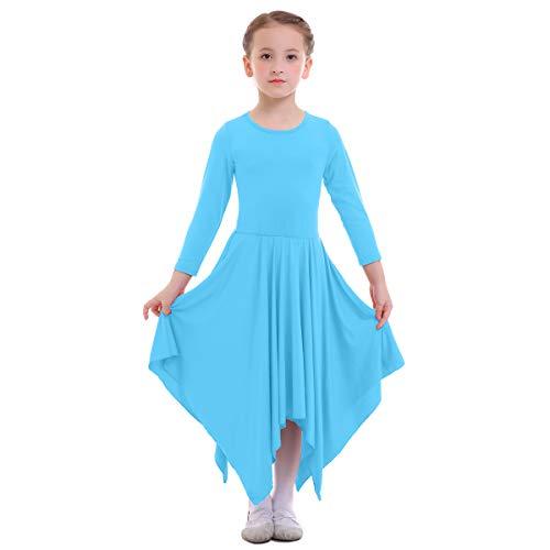 (IBTOM CASTLE Girls Celebration of Spirit Long Sleeve Dance Dress Liturgical Worship Costume Full Length Loose Fit Pleated Praise Dance Gown Blue 13-14)