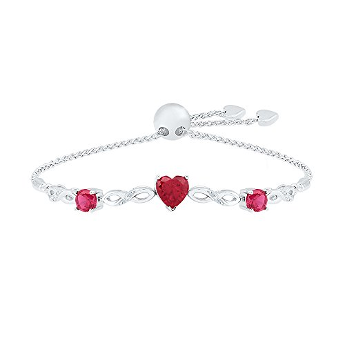 925 Sterling Silver White Round Diamond Heart Ruby & Round Pink Sapphire Adjustable Bolo Bracelet