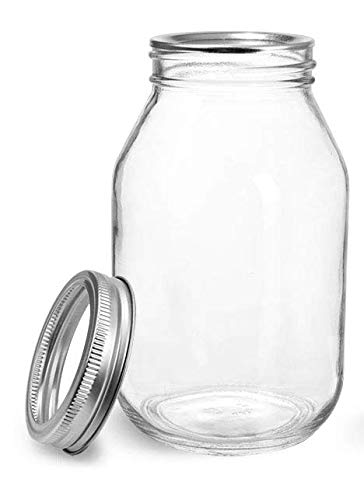 - Quart 32 oz Mayo Glass Jar with Gold 2 piece lid by Richards Packaging 12 Pack