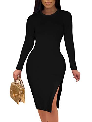 WHONE Women's Sexy O Neck Long Sleeve Side Slit Bodycon Elegant Party Midi Dress