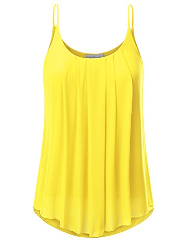 JJ Perfection Women's Pleated Chiffon Layered Cami Tank Top Yellow M