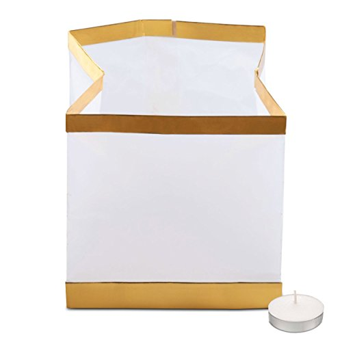 Unsinkable Floating Water Lantern with Tea Lights (Pack of 10) | Special Flotation Packet | Waterproof & Flameproof Paper | Chinese Water Lamps for Pool, Pond & Outdoor Party Decor