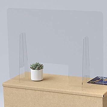 Mampara de mostrador de protección transparente en metacrilato 100x70 cm. Con ventana central de 30x20 cm.: Amazon.es: Bricolaje y herramientas