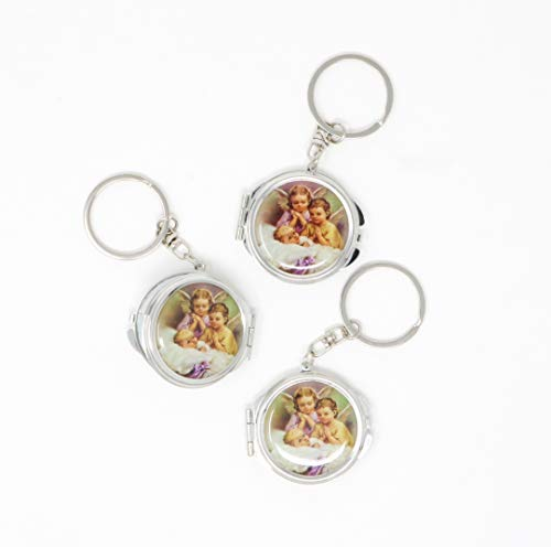 12 Piece New Baptism Mini Compact Mirror Key Chain Party Favor for Boys and Girls - Bautizo Recuerdos Angels & Baby Design Makeup Compact/First Communion