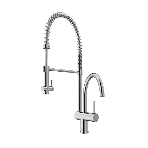 VIGO VG02006ST Dresden Single Handle Pull-Down Sprayer Kitchen Sink Faucet, Centerset Single Hole Faucet, Commercial-Style Design, Premium Stainless Steel (Style Centerset Faucet)