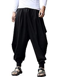 Men's Cotton Linen Plus Size Stretchy Waist Casual Ankle Length Pants