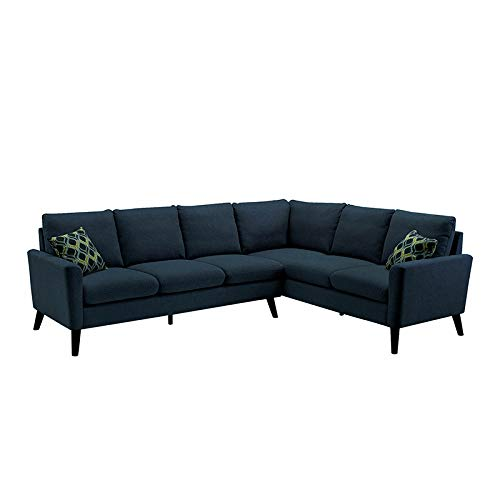 Sectional Sofa Linen Fabric Modern L-Shaped (Blue) 2019 Updated Model by Bliss Brands (Best Apartment Sofas 2019)