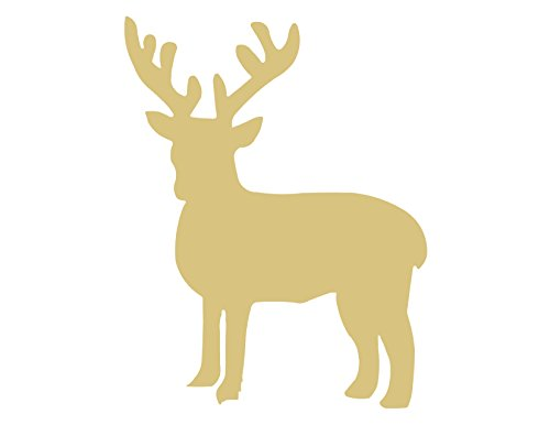 Deer Cutout Unfinished Wood Antlers Caribou Reindeer Forest Animal Buck Doe Zoo MDF Shape Canvas Style 4