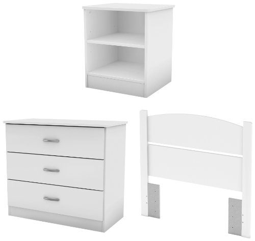 (South Shore Libra 3-Piece Bedroom Set with Dresser, Nightstand, and Twin Headboard, Pure)