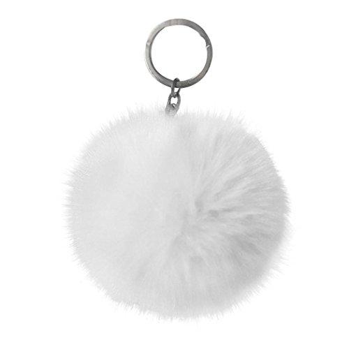 White Rabbit Bag (Voberry Keychain Rabbit Fur Ball Pom Pom Keychain for Car Key Ring Handbag Tote Bag Pendant (White))