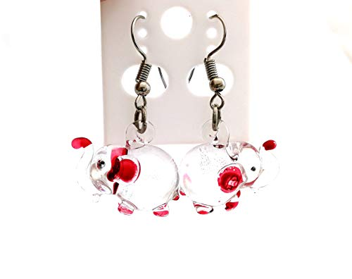 ThongDee Jewelry Glass Blown Red Elephant Figurines Drop Dangle Earrings for Women ()