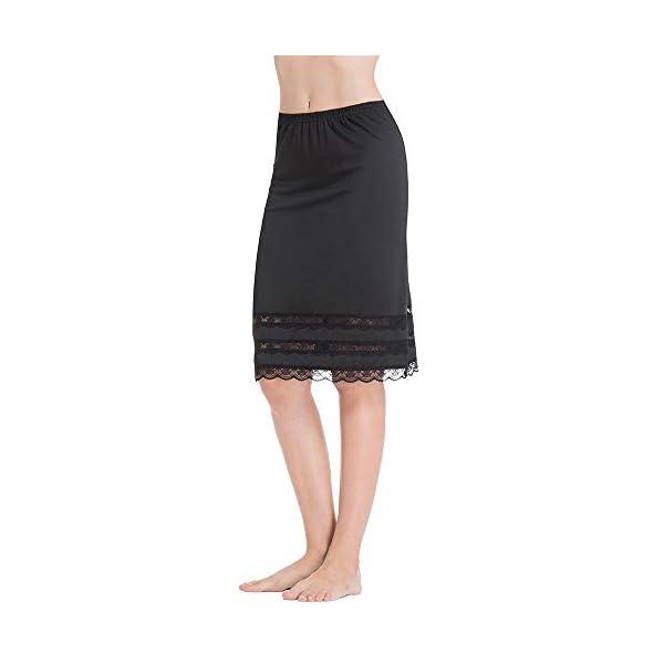 MANCYFIT Half Slips for Women Underskirt Dress Extender Lace Trim Knee Length Midi Skirt