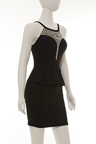 Abendkleid Cocktailkleid stylisch mit Schwarz Partykleid figurbetont schwarz asoort trägern mit Damen Dekolleté elegant qOBwnnHpI