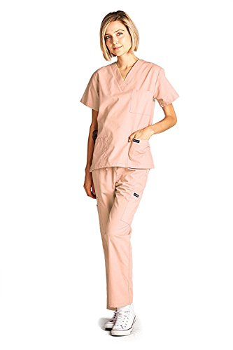 Dagacci Medical Scrubs Uniform Women and Man Scrubs Set Scrubs Medical Top and Pants (Peach, Medium)