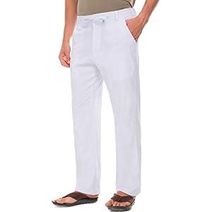 Janmid Men Casual Beach Trousers Linen Summer Pants