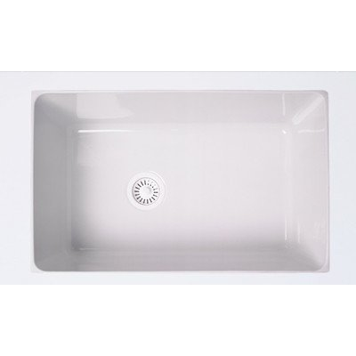 Rohl 6307-00 31-1/8-Inch by 19-5/8-Inch by 11 Inch, 31-Inch Single Bowl Allia Undermount Fireclay Kitchen Sink in ()