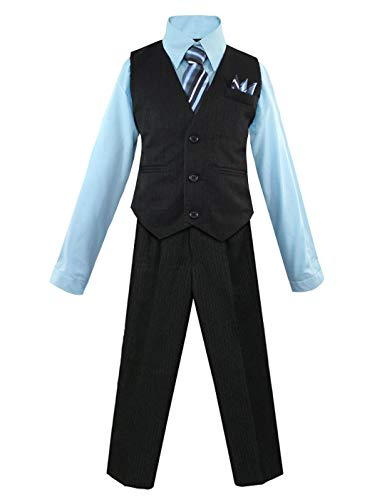 Luca Gabriel Toddler Boys' 4 Piece Pinstripe Vest Shirt Tie Pant and Hanky Set Sky Blue - 2t