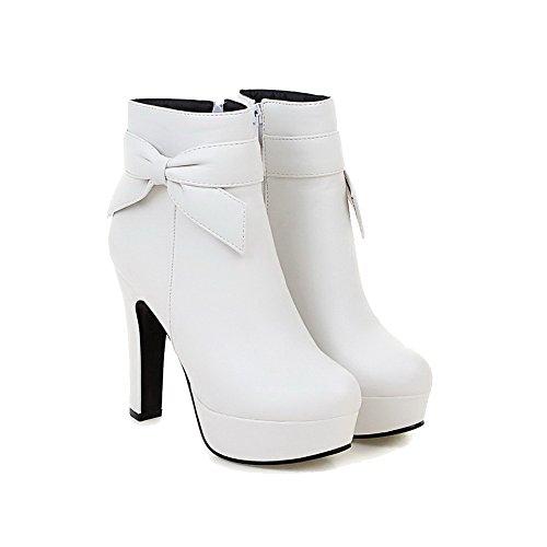 AllhqFashion Damen Rein PU Leder Hoher Absatz Reißverschluss Rund Zehe Stiefel, Weiß, 36