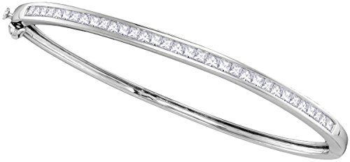 14kt White Gold Womens Princess Natural Diamond Bangle Fashion Bracelet 2.00 - White Princess Gold Bangle Diamond