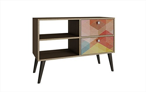 Manhattan Comfort Dalarna Series Long Tabletop TV Stand Console with Open Shelf Design and 2 Drawers, Oak