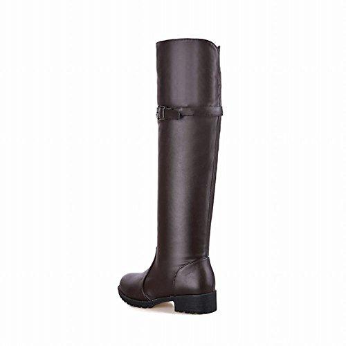 Cinturino Con Fibbia Moda Donna Latasa Decorato Con Zip E Stivali Chunky Con Tacco Alto In Ecopelle Marrone