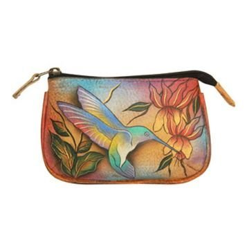 Anuschka Genuine Leather Hand Painted Medium Coin Purse (Flying Jewels) -
