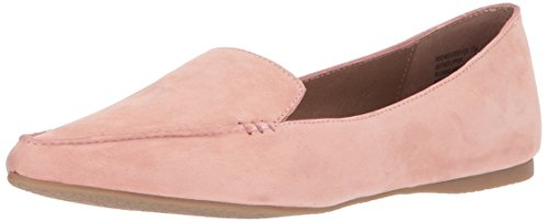 Steve Madden Womens Feather Fannullone Flat Rose Suede