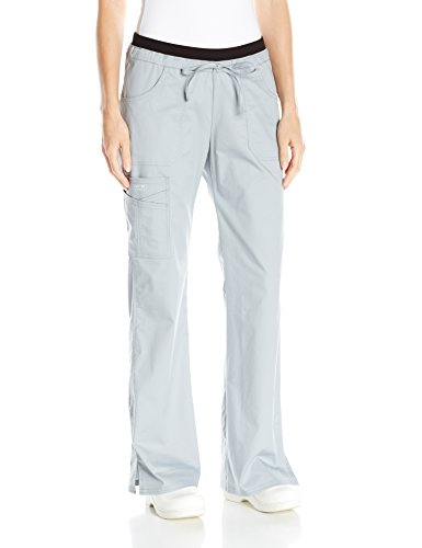 Cherokee Women's Ww Core Stretch Jr. Fit Low-Rise Drawstring Cargo Pant, Grey, Large (Low Flare Rise Pant Leg)