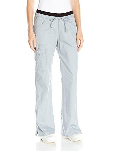 (Cherokee Women's Workwear Core Stretch Low Rise Cargo Scrubs Pant, Grey, Large Petite)