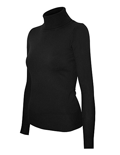 Stretch Knit Pullover - Cielo Women's Solid Basic Stretch Turtleneck Pullover Knit Sweater Black L