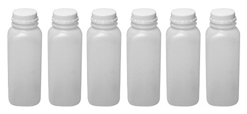 Plastic Juice Smoothies Milk Bottles with Tamper Evident Caps Empty 16 oz Set of 6 by Pinnacle Mercantile (Pint Milk Bottle)