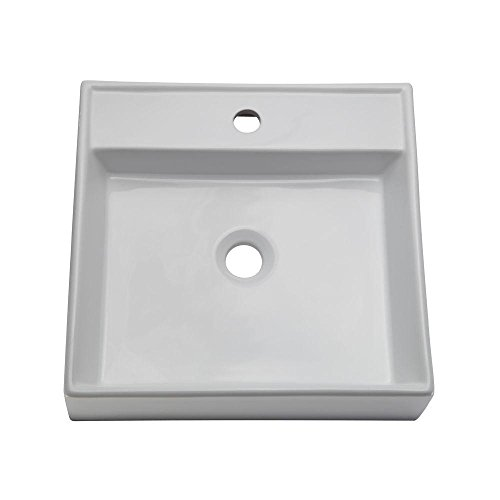 (DECOLAV 1464-CWH Aurelia Classically Redefined Low Profile Square Above-Counter Lavatory Sink, White)