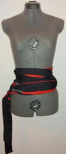 """red and black reversible two sided extra long cotton/poly wrap SCA renaissance pirate sash costume 144"""""""