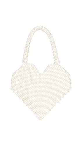 Loeffler Randall Women's Maria Beaded Heart Tote Bag, Pearl, Off White, One Size