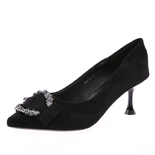 FLYRCX FLYRCX FLYRCX Frauen flachen Mund Stilett Mode Temperament High Heel wies Strass mit einzelnen Schuhen 0462ca