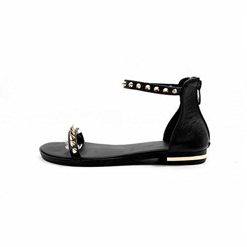 Mee Shoes Women's Chic Zip Rivet Sandals Black 6aCMjhH0YI