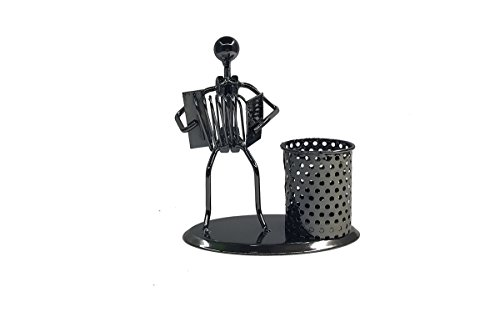 Metal Art Musician Pencil Pen holder For Desktop Organizer Pen Stand Decoration (C76 Accordion) (Metal Accordion)
